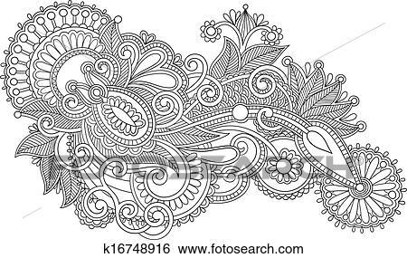 clipart - noir blanc, original, main, dessiner, revêtir art, orné