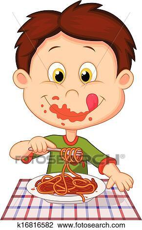Clipart dessin anim gar on manger spaghetti k16816582 recherchez des clip arts des - Dessin manger ...