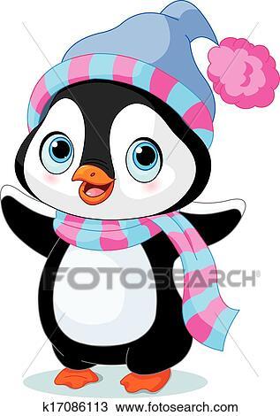 clipart niedlich winterbilder pinguin k17086113. Black Bedroom Furniture Sets. Home Design Ideas