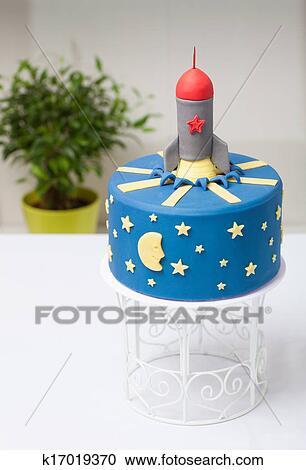 Stock Fotografie Kinder Kuchen Rakete Dass Blau K17019370