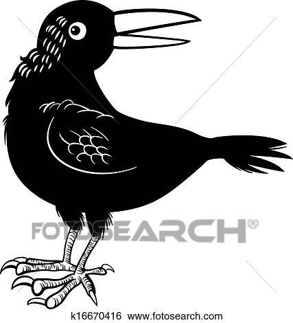 Clip Art - kraehe, oder, rabe, vogel, färbung, seite k16670416 ...