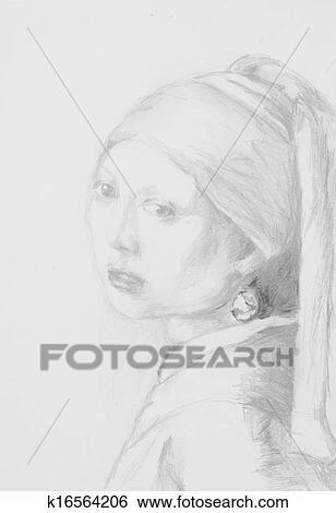 Stock Bilder Madchen Mit Perle Ohrring Bleistift Zeichnen