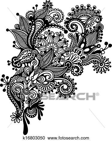 Clipart Main Dessiner Noir Blanc Revetir Art Orne Fleur