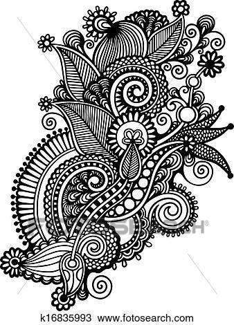 Main Dessiner Noir Blanc Revêtir Art Orné Fleur Design Ukrainien Traditionnel Style Clipart