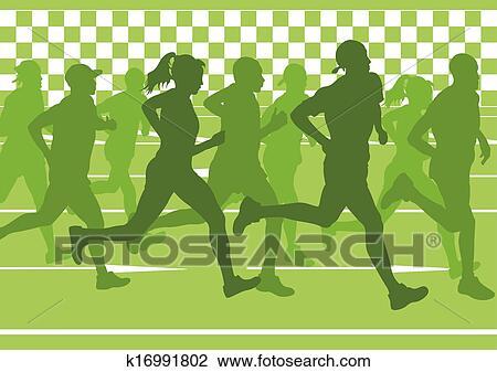 Clipart Of Marathon Runners Running Silhouettes Vector K16991802