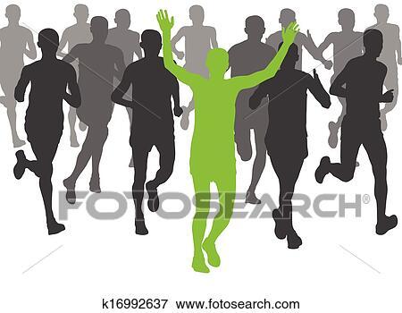 Clip Art Of Marathon Runners Vector Background K16992637