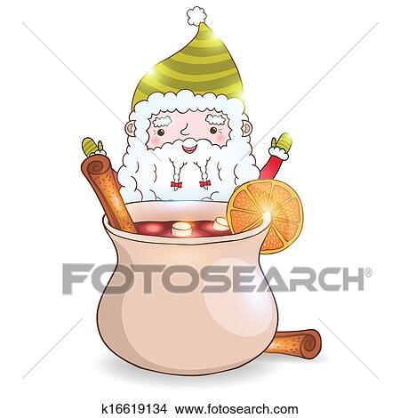 Mignon Dessin Animé Père Noël à Vin Chaud Clipart