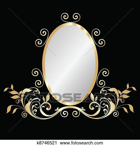 Mirror Gold Frame Clipart K8746521 Fotosearch