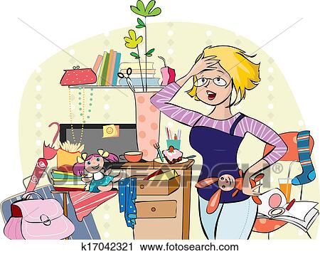 clipart of mom in a messy room k17042321 search clip art rh fotosearch com messy living room clipart messy room clipart