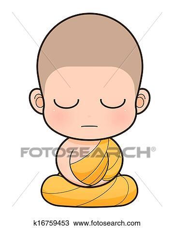 Monge Budista Caricatura Desenho K16759453 Fotosearch