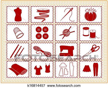 Clip Art - nähen, schneiderarbeit, stricken, handwerk, symbol ...