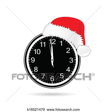 clip art new year clock with christmas hat vector illustration fotosearch search clipart