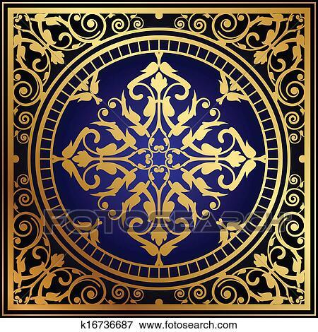 Clip Art Orientalische Blau Gold Teppich K16736687 Suche