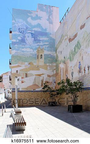 Peinture Murale Peinte à Place D Manuel Miro Banque D Image