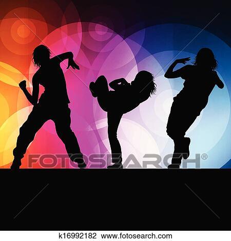 815cea1ef9f Pige, dans, silhuet, vektor, baggrund, begreb Clipart | k16992182 ...