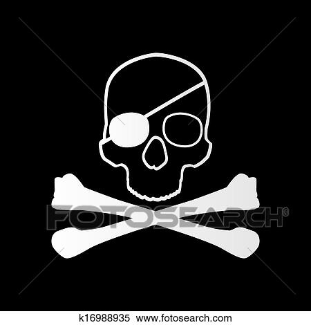 clipart of pirate sign skull and bones jolly roger k16988935 rh fotosearch com jolly roger clipart free jolly roger flag clipart
