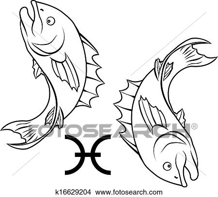 Pisces zodiac horoscope astrology sign Clipart