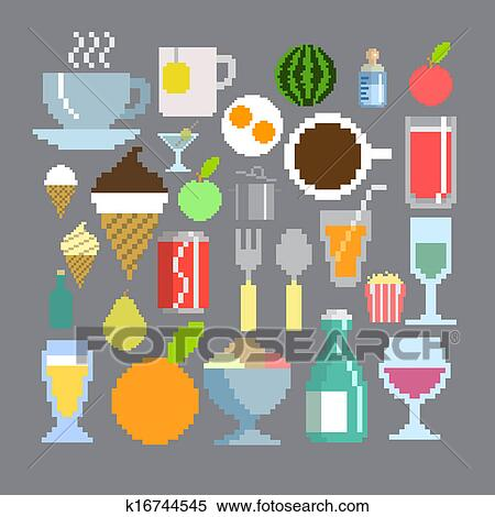 Pixel Art Style Food And Drink Set Stock Illustration