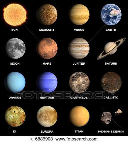 Planeten, und, einige, monde, von, sonnensystem Stock ...