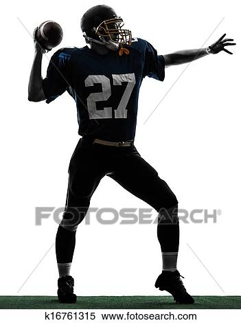 Stock Image Of Quarterback American Throwing Football Player Man
