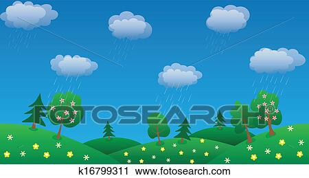 Rain Sky Background With Green Grass And Flowers Clipart K16799311