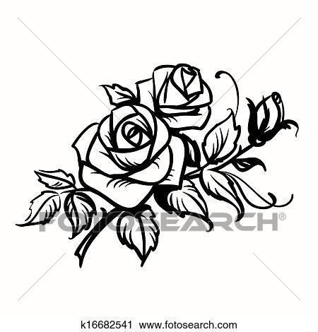 Roses Noir Contour Dessin Blanc Fond Clipart K16682541