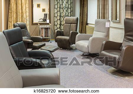 Banco de Fotografías - sala de exposición, de, muebles modernos ...