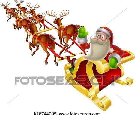 cartoon santa in his christmas sleigh waving back at the viewer - Christmas Sled