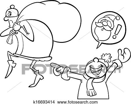 black and white cartoon illustration of a little boy who mistook the thief with santa claus for coloring book