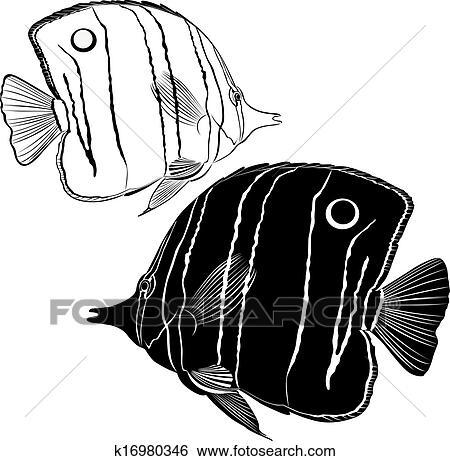 Clip Art Of Sea Butterfly Fish K16980346