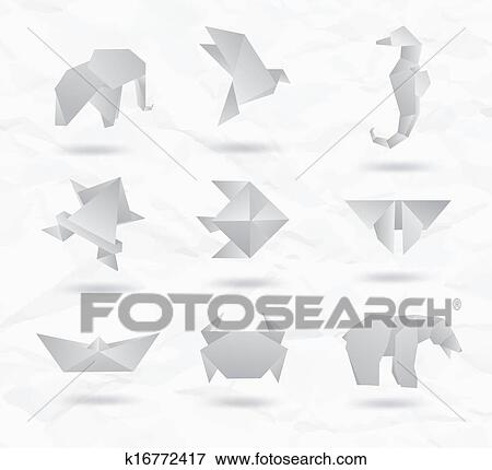 Clip Art Of Set Of White Origami Animals K16772417 Search Clipart - Origamis-animales