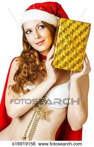 ef5937d7bd0e8 Sexy christmas woman in red santa claus hat Stock Images k16919156