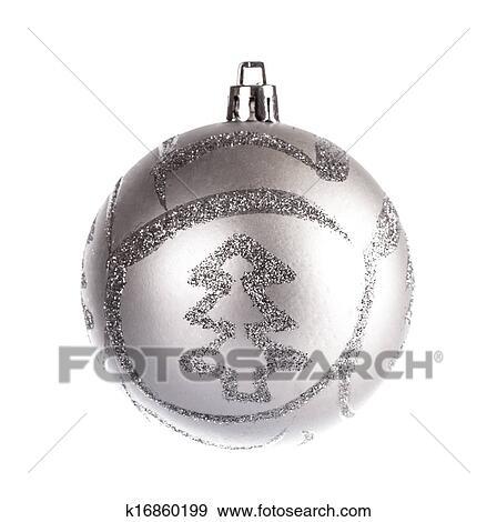 Weihnachtskugeln Weiß Silber.Silber Stumpf Weihnachtskugel Weiß Hintergrund Stock Foto