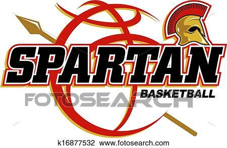 Clipart Of Spartan Basketball Design K16877532 Search Clip Art