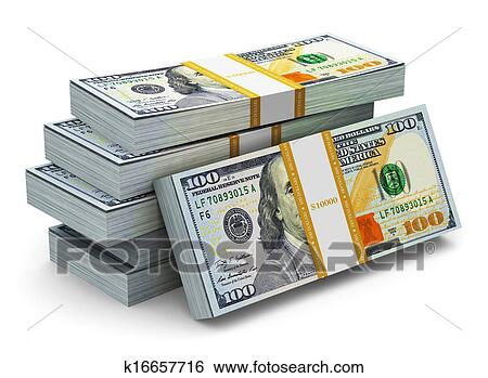 Creative Abstract Business Financial Succesaking Money Concept Stacks Of New 100 Us Dollar 2017 Edition Banknotes Or Bills Isolated On White