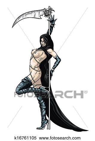 stock illustration of striptease girl grim reaper k16761105 search