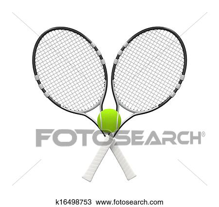 Drawing Of Tennis Rackets And Ball K16498753 Search Clipart