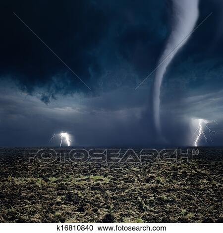 stock photography of tornado lightning farmland k16810840 search