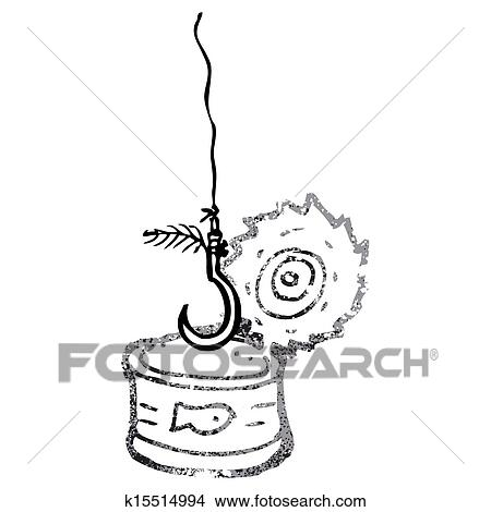 Drawing tuna can and fish hook cartoon fotosearch search clip art illustrations