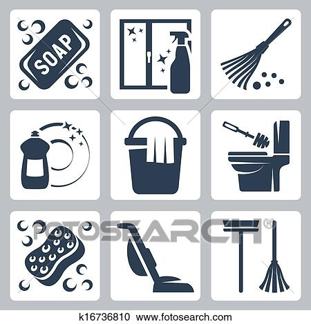 Vector Cleaning Icons Set Soap Window Cleaner Duster