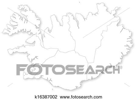 Vector map of Iceland with regions. Clipart | k16387002 | Fotosearch
