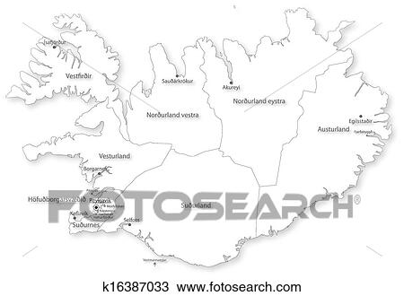 Vector map of Iceland with regions & cities Clipart k16387033