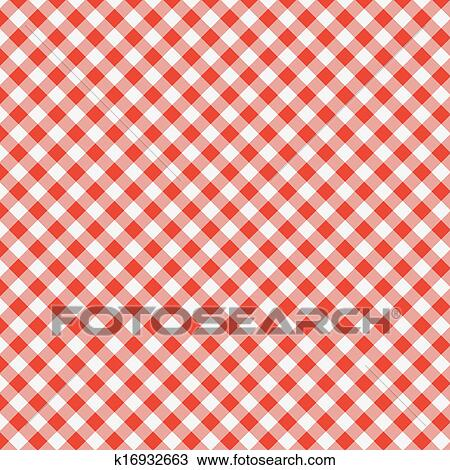 Vector Pattern Of Red Picnic Cooking Tablecloth