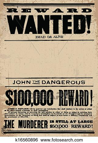 clip art of vector western wanted reward poster template k16560896