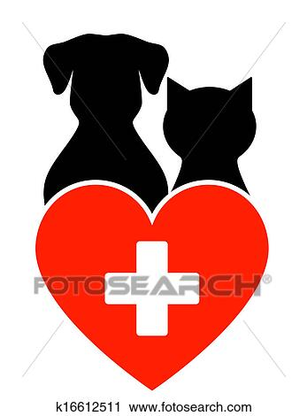 clipart of veterinary sign with dog and cat k16612511 search clip rh fotosearch com veterinarian clipart veterinary clipper care