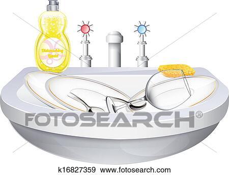 Waschbecken clipart  Clip Art - waschbecken, mit, geschirr k16827359 - Suche Clipart ...