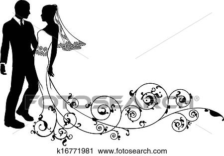 clipart of wedding couple bride and groom silhouette k16771981 rh fotosearch com wedding couple clipart black and white wedding couple clipart black and white
