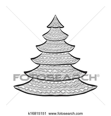 Weihnachtsbaum Schwarz.Weihnachtsbaum Schwarz Skizze Weiß Clipart