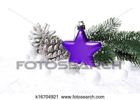 Weihnachtsdeko Lila.Weihnachtsdeko Lila Und Whi Stock Bild