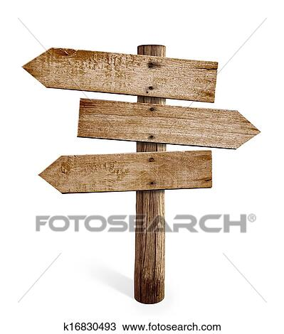 stock photo of wooden arrow sign post or road signpost isolated